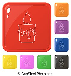 Line style candle icons set 8 colors isolated on white. Collection of glossy square colorful buttons. Vector illustration for any design.
