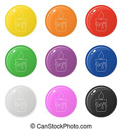 Line style candle icons set 9 colors isolated on white. Collection of glossy round colorful buttons. Vector illustration for any design.