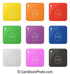 Line style candle icons set 9 colors isolated on white. Collection of glossy square colorful buttons. Vector illustration for any design.