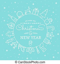 Line Style Christmas and New Year Greeting Banner or Card With Vintage Typography