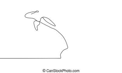 Line style dolphin illustration- continuous line drawing.