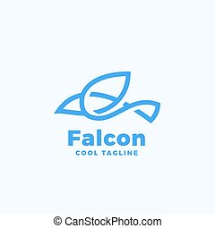 Line Style Falcon Symbol. Abstract Vector Icon, Sign or Logo Template.