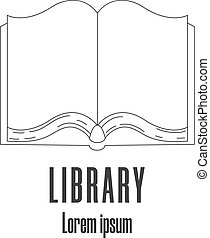 Line style icon of a book. Library, bookstore logo. Clean and modern vector illustration.