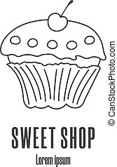 Line style icon of a cupcake. Sweet shop, bakery, pastry logo. Clean and modern vector illustration.