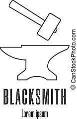 Line style icon of a hammer and anvil. Blacksmith, repair logo. Clean and modern vector illustration.
