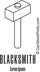 Line style icon of a hammer. Blacksmith, repair logo. Clean...