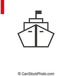 Line style logotype template with cruise ship. Isolated on background and easy to use. Perfect logo for your business. Clean and minimalistic symbol.