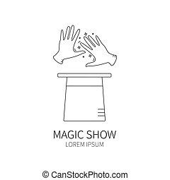 magician hands and magic hat.