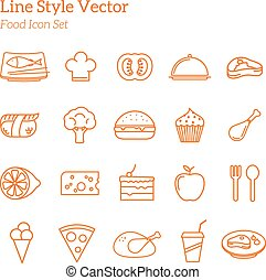 Line Style Vector Food Icon Set
