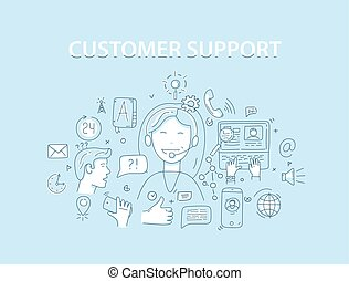 Line style vector illustration concept for customer support service