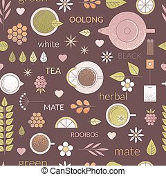 Line tea seamless pattern