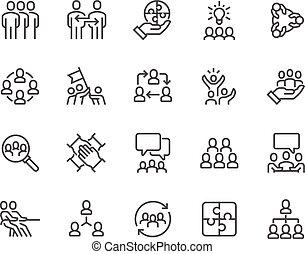 Line Team Work Icons