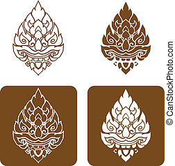 Line Thai art pattern vector illust