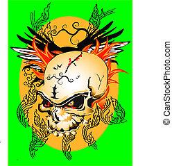 line thai skull pattern