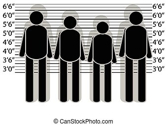 line up police. abstract silhouette of people on white...