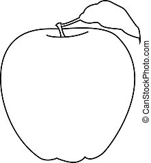 line vector graphic of a red apple isolated on white background