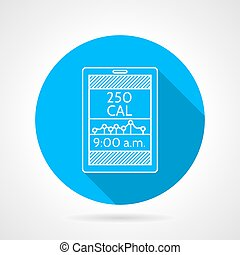 Round blue flat vector icon with white line calorie counter app for sport or diet on gray background with long shadows.