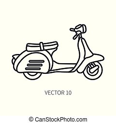 Line vector icon retro tourism scooter. Classic 1950s style...