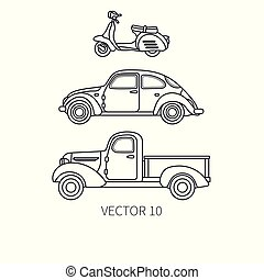 Line vector icon set retro tourism auto, scooter and pickup...
