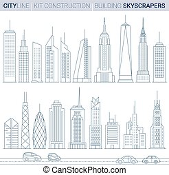 Line Vector Illustration Set. City tower buildings and...