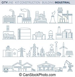 Line Vector Illustration Set. Industrial Buildings