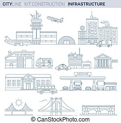 Line Vector Illustration Set. Infrastructures