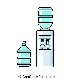 Line vector plastic water cooler with blue full bottle. Flat illustration on white background