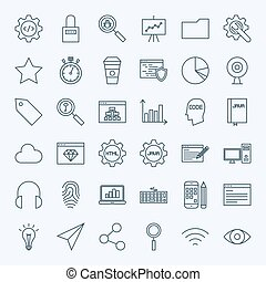 Line Web Development Icons