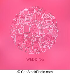 Line Wedding Icons Circle Concept