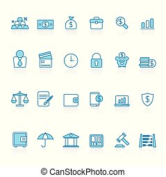 Line with blue background Bank, Business and finance icons...