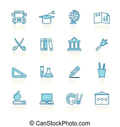 Line with blue background Education and school icons