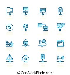 Line with blue background Network, Server and Hosting Icons