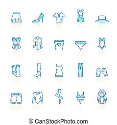 Line with blue background woman clothing icons