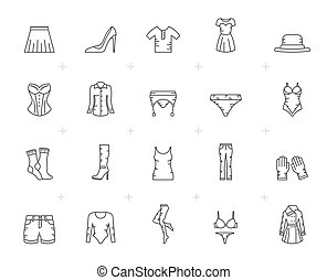 Line woman clothing icons