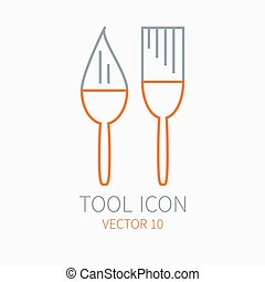 Line working color brush for construction, building and home repair icon. Vector illustration. Element for design. Hand work tool. Industrial cartoon style. Simple. Pictogram. Service. Equipment.