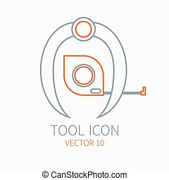 Line working color divider with measuring tape for construction building and home repair icon. Vector illustration. Element for design. Hand work tool. Industrial style. Pictogram. Service. Equipment.