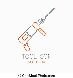 Line working color electric drill for construction, building and home repair icon. Vector illustration. Element for design. Hand work tool. Industrial cartoon style. Pictogram. Service. Equipment.