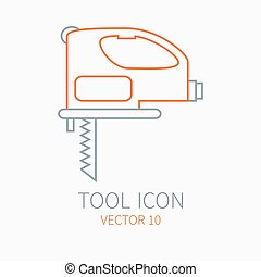 Line working color electric jigsaw for construction, building and home repair icon. Vector illustration. Element for design. Hand work tool. Industrial cartoon style. Pictogram. Service. Equipment.