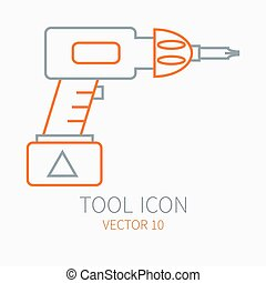 Line working color electric screwdriver construction, building and home repair icon. Vector illustration. Element for design. Hand work tool. Industrial cartoon style. Pictogram. Service. Equipment.
