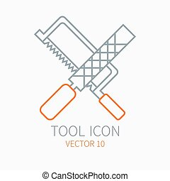 Line working color file with hacksaw for construction, building and home repair icon. Vector illustration. Element for design. Hand work tool. Industrial cartoon style. Pictogram. Service. Equipment.