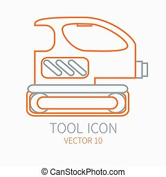 Line working color grinder for construction, building and home repair icon. Vector illustration. Element for design. Hand work tool. Industrial cartoon style. Simple. Pictogram. Service. Equipment.