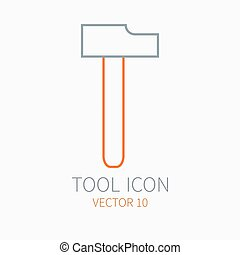Line working color hammer for construction, building and home repair icon. Vector illustration. Element for design. Hand work tool. Industrial cartoon style. Simple. Pictogram. Service. Equipment.