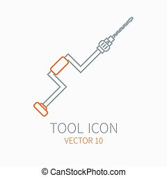 Line working color hand drill for construction, building and home repair icon. Vector illustration. Element for design. Hand work tool. Industrial cartoon style. Simple. Pictogram. Service. Equipment.