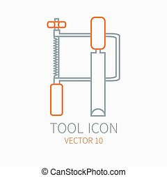 Line working color jig saw with chisel for construction building and home repair icon. Vector illustration. Element for design. Hand work tool. Industrial cartoon style. Pictogram. Service. Equipment.