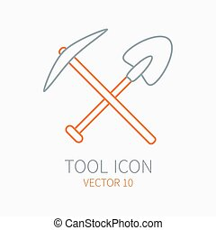 Line working color pickaxe with shovel construction, building and home repair icon. Vector illustration. Element for design. Hand work tool. Industrial cartoon style. Pictogram. Service. Equipment.