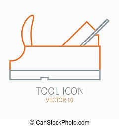 Line working color plane for construction, building and home repair icon. Vector illustration. Element for design. Hand work tool. Industrial cartoon style. Simple. Pictogram. Service. Equipment.