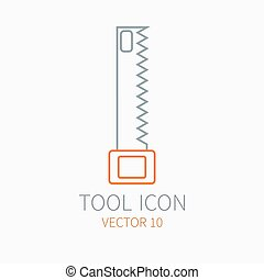 Line working color saw for construction, building and home repair icon. Vector illustration. Element for design. Hand work tool. Industrial cartoon style. Simple. Pictogram. Service. Equipment.