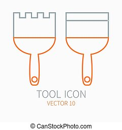 Line working color spatula for construction, building and home repair icon. Vector illustration. Element for design. Hand work tool. Industrial cartoon style. Simple. Pictogram. Service. Equipment.