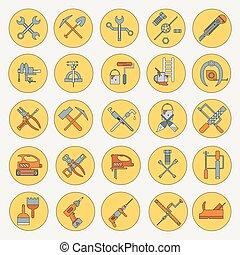 Line working color tools for construction, building and home repair icons set. Vector illustration. Equipment. Elements for design. Industrial style. Hand work tools collection.