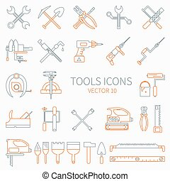 Line working color tools for construction, building and home repair icons set. Vector illustration. Elements for design. Hand work tools collection. Work tools. Industrial style. Cartoon style.